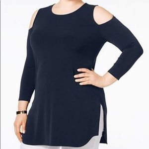 Alfani Cold Shoulder Top Tunic Shirt Navy Blue